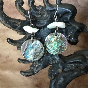 Abalone and White Shell Earrings